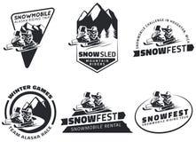 Reeks de emblemen, de kentekens en pictogrammen van de de wintersneeuwscooter Royalty-vrije Stock Foto