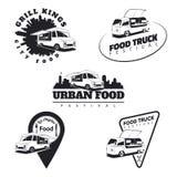 Reeks de emblemen, de pictogrammen en kentekens van de voedselvrachtwagen Stedelijk, straatvoedsel Royalty-vrije Stock Fotografie