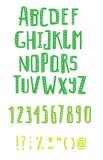 Reeks de hand getrokken letters en cijfers van ABC Geweven grappig gezet voor uw ontwerp Stock Foto's