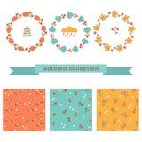 Reeks de herfst bloemenkronen en naadloze patronen Stock Foto