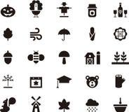 Reeks de herfst glyph pictogrammen Stock Afbeelding