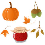 Reeks de herfstpictogrammen Stock Afbeelding