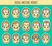 Reeks 15 de hoofden van de krabbelsticker van apen met verschillende emoties Stock Fotografie