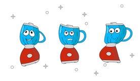 Reeks de keukentoestellen van beeldverhaalpictogrammen met verschillende emoties Karakter Rode mixer in beeldverhaalstijl Vrolijk vector illustratie