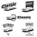 Reeks de klassieke emblemen, de kentekens en pictogrammen van de spierauto Stock Afbeeldingen