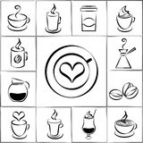 Reeks de koffiepictogrammen uit de vrije hand van de krabbelschets Royalty-vrije Stock Fotografie