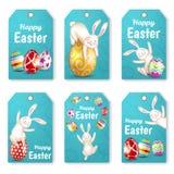 Reeks de konijnen en eieren van Pasen Royalty-vrije Stock Foto