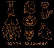 Reeks de krabbelelementen van Halloween Royalty-vrije Stock Foto's