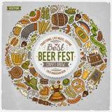 Reeks de krabbelvoorwerpen van het Bier fest beeldverhaal om kader vector illustratie