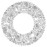 Reeks de krabbelvoorwerpen van het Nieuwjaarbeeldverhaal om kader Stock Afbeeldingen