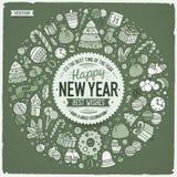Reeks de krabbelvoorwerpen van het Nieuwjaarbeeldverhaal om kader Stock Afbeelding