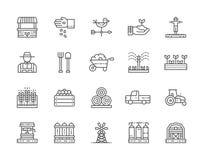 Reeks de Landbouw en Landbouw Lijnpictogrammen Landbouwer, Tractor, Millwheel en meer stock illustratie