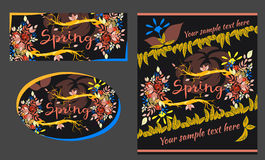 Reeks de lente en van de de zomergroet kaarten Royalty-vrije Stock Foto's