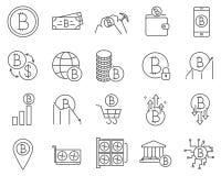 Reeks de lijn vectorpictogrammen van Bitcoin en Cryptocurrency- stock illustratie