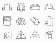 Reeks de lijn vectorpictogrammen van de het werkveiligheid stock illustratie
