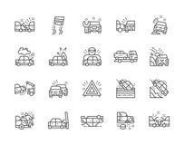 Reeks de Lijnpictogrammen van Autoongevallen Autopost, Evacuatie, Opstopping en meer vector illustratie