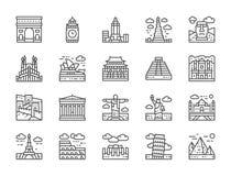 Reeks de Lijnpictogrammen van het Wereldori?ntatiepunt Egypte, Itali?, het Verenigd Koninkrijk, Frankrijk en meer vector illustratie