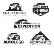 Reeks de moderne emblemen, de pictogrammen en emblemen van de suvbestelwagen Offroad oogst Royalty-vrije Stock Afbeelding