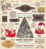 Reeks de Ornamenten van Kerstmis en Decoratieve Elementen Royalty-vrije Stock Foto