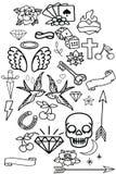 Reeks - de oude stickers van de schoolwang Stock Fotografie