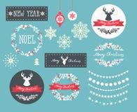 Reeks de pictogrammen, de elementen en illustraties van de Winterkerstmis stock illustratie