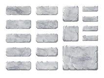 Reeks de realistische knopen en elementen van de steeninterface Stock Foto