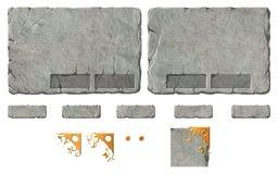 Reeks de realistische knopen en elementen van de steeninterface Stock Foto's