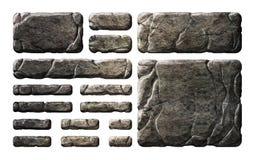 Reeks de realistische knopen en elementen van de steeninterface Stock Fotografie