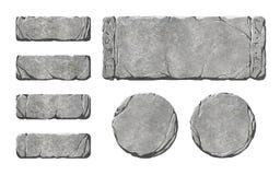 Reeks de realistische knopen en elementen van de steeninterface Royalty-vrije Stock Foto's