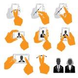 Reeks de Rechte Mobiele Vlakke Telefoon van de Handholding en Stijlpictogrammen Stock Afbeeldingen