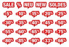 Reeks de Rode Verkoop van Toespraakbellen Minus en Verschillende Woorden vector illustratie