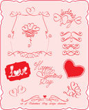 Reeks de symbolen van de Dag van de Valentijnskaart `s en ontwerpelementen Stock Afbeeldingen