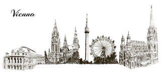 Reeks de symbolensilhouetten van Wenen Cityline Donauturm, Stephansdom, Rathaus, Prater, de Operahuis van de Staat van Wenen Stock Foto's