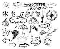 Reeks de tekeningspictogrammen van de weerhand Stock Afbeelding