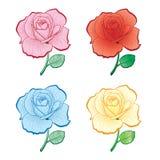 Reeks de tekeningsrozen van de kleurenhand Royalty-vrije Stock Fotografie