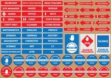 Reeks de tekens/symbolen van het schoolmilieu Stock Afbeelding