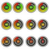 Reeks de tijdopnemerpictogrammen van de kleurenchronometer met tekens van 60 tot 0 royalty-vrije illustratie