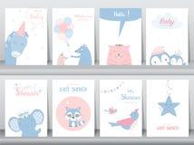 Reeks de uitnodigingskaarten van de babydouche, verjaardagskaarten, affiche, malplaatje, leuke groetkaarten, vogels, olifanten, r royalty-vrije illustratie