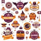 Reeks de Uitstekende Gelukkige Kentekens en Etiketten van Halloween Royalty-vrije Stock Afbeelding