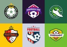 Reeks de uitstekende van het het voetbalkampioenschap van de kleurenvoetbal emblemen en kentekens op witte Achtergrond Stock Fotografie