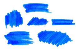 Reeks de vector blauwe slagen en vlekken van de hoogtepuntteller Stock Afbeelding