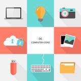 Reeks 06 - de vlakke pictogrammen van de ontwerpcomputer stock foto's