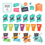 Reeks de vlakke stickers en linten van de ontwerpstijl voor het winkelen Stock Foto
