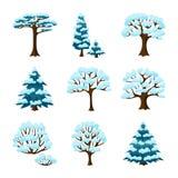 Reeks de wintersamenvatting gestileerde bomen naughty stock illustratie