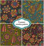 Reeks de zomerachtergronden - Bloemen Naadloze Patronen met bloem vector illustratie