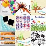Reeks de zomerkaarten, elementen en kaders stock illustratie