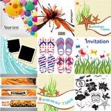 Reeks de zomerkaarten, elementen en kaders royalty-vrije illustratie