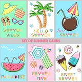 Reeks de zomerkaarten - vectorillustratie, eps royalty-vrije illustratie