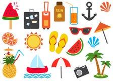 Reeks de zomerpictogrammen Vector illustratie stock illustratie