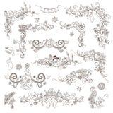 Reeks decoratie en verdelers van de Kerstmis de uitstekende pagina royalty-vrije illustratie